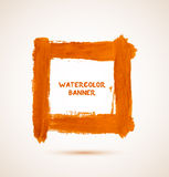 Abstract orange watercolor hand-drawn banner Stock Images