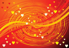 Abstract orange wave background with hearts Stock Images