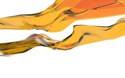 Abstract orange wave on white background. Futuristic shape. 3D illustration Stock Photography
