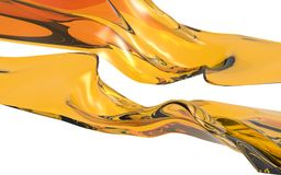 Abstract orange wave on white background. Futuristic shape. 3D illustration Royalty Free Stock Images
