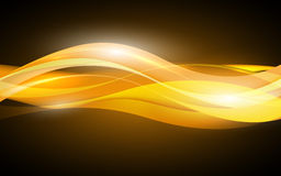 Abstract orange waves - data stream concept. Vector Stock Image