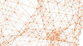 Abstract orange waving 3D grid or mesh of pulsating geometric objects. Use as abstract fas abstracthion background