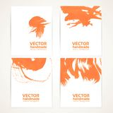 Abstract orange and white brush texture on banner set Stock Image
