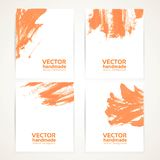 Abstract orange and white brush texture hand drawing on banners Stock Photos