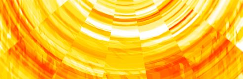 Abstract Orange and Yellow Banner Header. Abstract yellow and orange colored swirly swirl radial  pixelated banner header background backdrop design Royalty Free Stock Photography