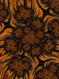 Abstract orange yellow black bush, fantasy blooming background. Halloween autumn floral pattern. Stock Photo