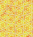 Abstract orange and yellow floral pattern, Tile texture background, Ornate seamless illustration Royalty Free Stock Images