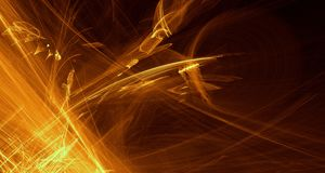 Abstract orange, yellow, gold light glows, beams, shapes on dark background. Abstract orange, yellow golden light and laser beams and glowing shapes multicolored vector illustration