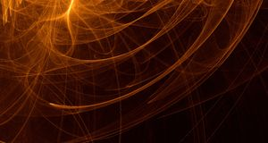 Abstract orange, yellow, gold light glows, beams, shapes on dark background Royalty Free Stock Photo