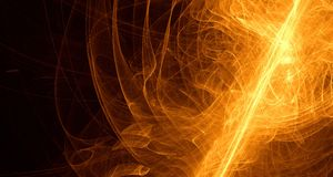 Abstract orange, yellow, gold light glows, beams, shapes on dark background stock illustration
