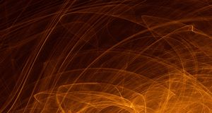 Abstract orange, yellow, gold light glows, beams, shapes on dark background. Abstract orange, yellow golden light and laser beams and glowing shapes multicolored stock illustration