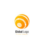 Abstract orange or yellow sun sign. Abstract stripped vector logo template, round swirl simple logotype. Stock Photo