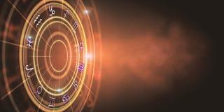 Abstract orange zodiac wheel backdrop Royalty Free Illustration