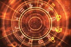 Abstract orange zodiac wheel background Royalty Free Illustration