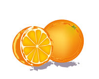 Abstract oranges. Abstract whole and half oranges on white background Royalty Free Stock Photo