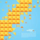 Abstract Oranje Vierkant op een Blauwe Achtergrond Royalty-vrije Stock Afbeeldingen