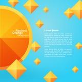 Abstract Oranje Vierkant op een Blauwe Achtergrond Stock Afbeelding