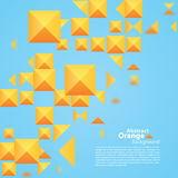 Abstract Oranje Vierkant op een Blauwe Achtergrond Stock Fotografie
