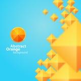 Abstract Oranje Vierkant op een Blauwe Achtergrond Stock Foto