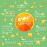 Abstract Oranje Vierkant op een Groene Achtergrond Stock Foto
