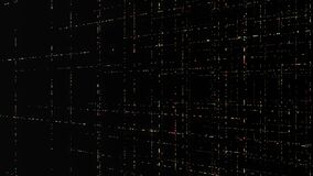 Abstract orderly movement of energy impulses isolated on black background, seamless loop. Animation. Colorful signals