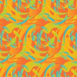 Abstract organic curve forms seamless pattern. Concept bio liquid shapes repeatable motif in yellow and orange color Royalty Free Stock Images