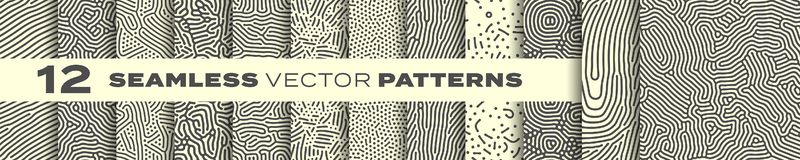 Free Abstract Organic Lines Seamless Patterns Vector Backgrounds Set. Modern Trendy Creative Memphis And Biological Patterns With Dots Royalty Free Stock Photo - 161604745