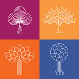 Abstract organic tree line icons logo vectors - eco & bio design Royalty Free Stock Photography