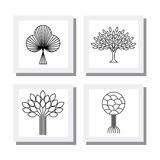 Abstract organic tree line icons logo vectors - eco & bio design Stock Photography