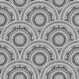 Abstract oriental seamless pattern with circular ornament. Royalty Free Stock Photography