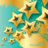 Abstract Origami Gold Stars on blue vector background. Cosmic falling shining stars. Trendy Illustration for design Stock Illustration