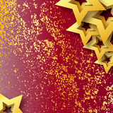 Abstract Origami Gold Stars on red vector background. Royalty Free Stock Photo