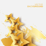 Abstract Origami Gold Stars on white vector background. Cosmic falling shining stars. Trendy Illustration for design Royalty Free Illustration