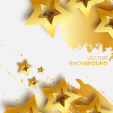 Abstract Origami Gold Stars on white vector background. Cosmic falling shining stars. Trendy Illustration for design Vector Illustration