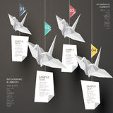 Abstract origami paper cranes infographics Stock Photos