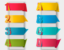 Abstract origami retro banners with litters and numbers. Vector royalty free illustration