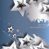 Abstract Origami Silver Stars on blue vector background. Royalty Free Stock Photography