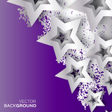 Abstract Origami Silver Stars on purple vector background. Royalty Free Stock Photography