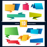 Abstract origami speech bubble set, vector background.  Royalty Free Stock Images
