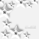 Abstract origami white paper stars background. Stock Photography