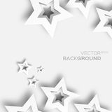 Abstract origami white paper stars background. Royalty Free Stock Photo