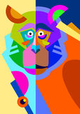 Abstract original monkey drawing in flat style and Stock Photos