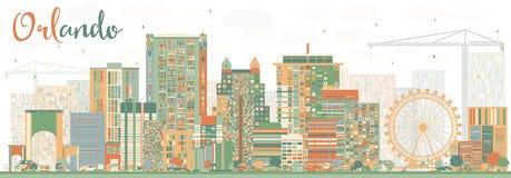 Abstract Orlando Skyline met Kleurengebouwen royalty-vrije illustratie