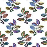 Abstract ornament. Colorful illustration. Watercolor drawing of leaves of different colors. Leaves and branches for design. vector illustration
