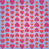 Abstract ornament from hearts arranged vertically on blue background. For Valentine's Day Stock Photos