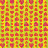 Abstract ornament from hearts arranged vertically on striped background. For Valentine's Day Royalty Free Stock Photo