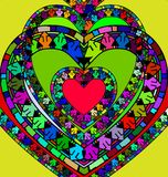 Abstract ornament hearts. Abstract colored background image of heart consisting of lines and figures stock illustration