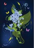 Abstract ornament met een sering en een vlindersaga Royalty-vrije Stock Afbeeldingen