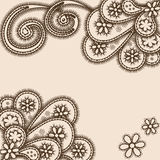 Abstract ornament met paisleys, hennastijl Stock Afbeeldingen