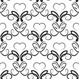 Abstract ornament with swirls. Seamless pattern. Black elements on a white background. Vector illustration Royalty Free Stock Photography